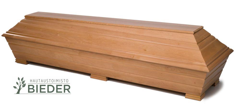 Kaunis arkku perinteisestä arkkumateriaalista - tervalepästä - Hautaustoimisto Bieder